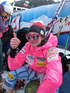 Laurenne Ross throws the thumbs up after landing back in the downhill points following a Dec. 3 crash in Lake Louise (Doug Haney/U.S. Ski Team)