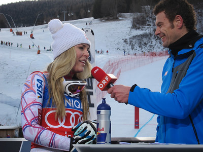 Lindsey Vonn interviews with ORF after finshing fourth in the Bad Kleinkirchheim downhill (Doug Haney/U.S. Ski Team)