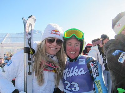 Lindsey Vonn and Stacey Cook smile at the Cortina downhill after finishing second and sixth (Doug Haney/U.S. Ski Team)