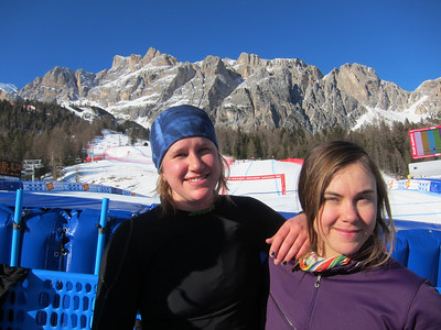 Alice McKennis and Leanne Smith following the opening training run in Cortina (Doug Haney/U.S. Ski Team)