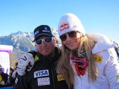 Lindsey Vonn with U.S. Ski Team coach Jeff Fergus after Vonn won the Cortina super G (Doug Haney/U.S. Ski Team)
