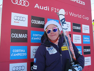 Leanne Smith spent some time in the super G leader box before landing 10th (Doug Haney/U.S. Ski Team)