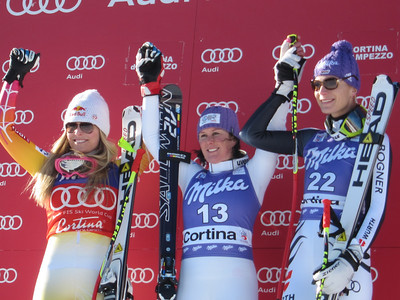 Lindsey Vonn was second in a windy Cortina d'Ampezzo downhill as Italian Daniela Merighetti captured the first win of her career (Doug Haney/U.S. Ski Team)