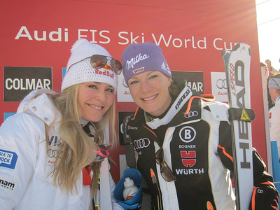 Lindsey Vonn and Maria Riesch in the leader box after finishing 1-2 in the Cortina super G (Doug Haney/U.S. Ski Team)