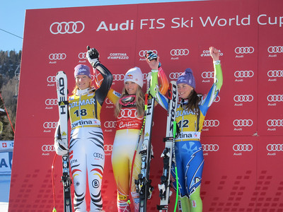Maria Riesch, Lindsey Vonn and Tina Maze on the Cortina super G podium (Doug Haney/U.S. Ski Team)
