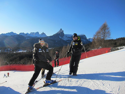 U.S. coaches during racer inspection in Cortina (Doug Haney/U.S. Ski Team)