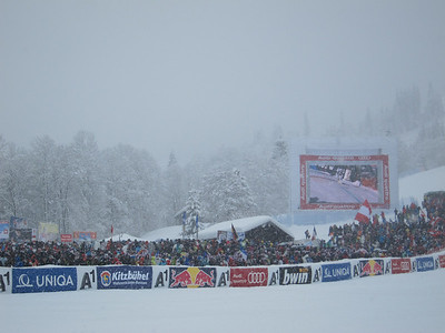 Heavy snow fell in Kitzbuehel throughout the shortened downhill (Doug Haney/U.S. Ski Team)