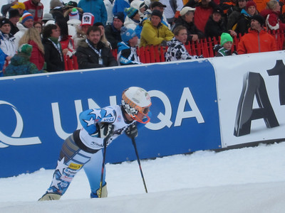 Jimmy Cochran catches his breath in the Kitzbuehel slalom finish after the first run (Doug Haney/U.S. Ski Team)