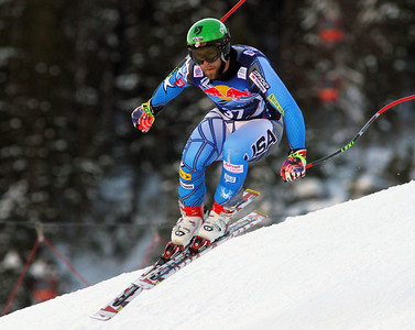 Travis Ganong in the second downhill training run at Kitzbuehel (Malcolm Carmichael/Alpine Canada)