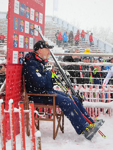 Didier Cuche relaxes in the leader box after winning the Kitzbuehel downhill for a record fifth time (Doug Haney/U.S. Ski Team)
