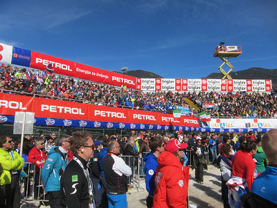 The stands were over flowing with fans to see Ted Ligety win his fourth giant slalom in Kranjska Gora (Doug Haney/U.S. Ski Team)