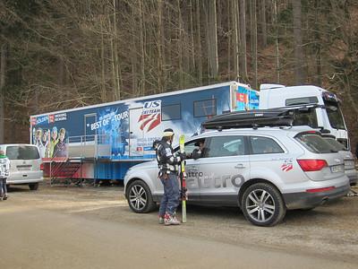 Head Coach Sasha Rearick chats with Speed Head Coach Forest Carey outside the U.S. Ski Team mobile nutrition center provided by Soelden/Oetztal/Obergurgl-Hochgurgl (Doug Haney/U.S. Ski Team)
