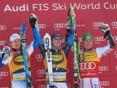 (l-r) Alexis Pinterault, Ted Ligety and Marcel Hirscher after finishing 2-1-3 in the men's giant slalom at Kranjska Gora (Doug Haney/U.S. Ski Team)