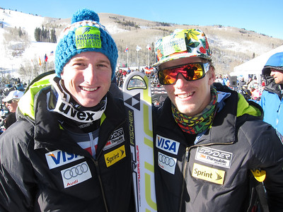 Tim Jitloff and Tommy Ford after finishing 10th and 15th respectively in the second giant slalom at Beaver Creek (Doug Haney/U.S. Ski Team)