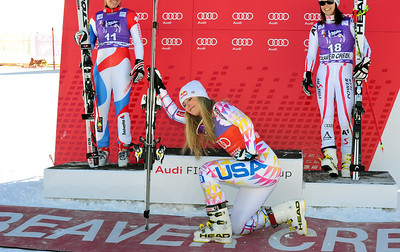 """Lindsey Vonn celebrates her 46th career Audi FIS World Cup win by """"Tebowing"""" before taking the podium. Vonn matched the all time record of 16 super G victories and has won 14 of the last 19 World Cup super G's. (U.S. Ski Team/Tom Kelly)"""