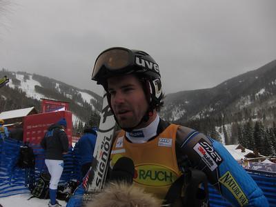 Nolan Kasper interviews with Universal Sports following his stunning fourth place finish in the Audi Birds of Prey slalom (U.S. Ski Team/Doug Haney)