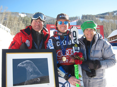Ted Ligety with his parents Bill Ligety and Cyndi Sharp after winning the second giant slalom in Beaver Creek for the 10th win of his career (Doug Haney/U.S. Ski Team)