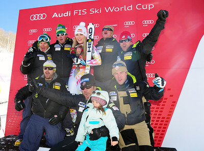 Lindsey Vonn and her team of coaches celebrate her 46th Audi FIS World Cup win.(U.S. Ski Team/Tom Kelly)
