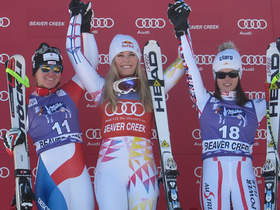 Lindsey Vonn on the top of the Audi Birds of Prey super G podium in Beaver Creek (Doug Haney/U.S. Ski Team)