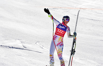 Lindsey Vonn celebrates her 46th career Audi FIS World Cup win, matching the all time record of 16 super G victories. Vonn has won 14 of the last 19 World Cup super G's. (U.S. Ski Team/Tom Kelly)