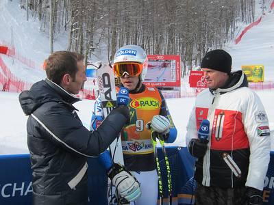 Bode Miller speaks with German television after finishing fourth in downhill portion of super combined in Sochi (Doug Haney/U.S. Ski Team)