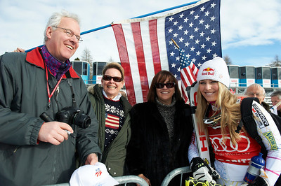 Lindsey Vonn cruises onto the St. Moritz super combined podium for the 48th win of her career (Giancarlo Cattaneo/fotoswiss.com)