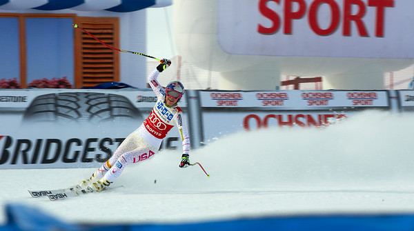 Lindsey Vonn rocketed to a 1.42 second margin of victory in the St. Moritz downhill to notch her eighth win this season, career 49th and her first downhill victory at the Swiss resort (Giancarlo Cattaneo/fotoswiss.com)