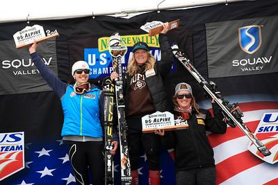 Combined: Lila Lapanja, 2nd, Katie Hartman, 1st and Paula Moltzan, 3rd Women's Slalom 2013 Nature Valley U.S. Alpine Championships at Squaw Valley, California Photo: Sarah Brunson/U.S. Ski Team