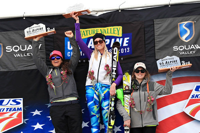 Junior podium: Tianda Carroll , 2nd, Tonje Sekse, 1st and Avril Dunleavy, 3rd  Women's Slalom 2013 Nature Valley U.S. Alpine Championships at Squaw Valley, California Photo: Sarah Brunson/U.S. Ski Team