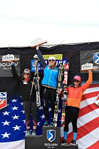 Junior Combined podium: Paula Molztan, 2nd, Lila Lapanja, 1st and Lauren Samuels, 3rd Women's Slalom 2013 Nature Valley U.S. Alpine Championships at Squaw Valley, California Photo: Sarah Brunson/U.S. Ski Team