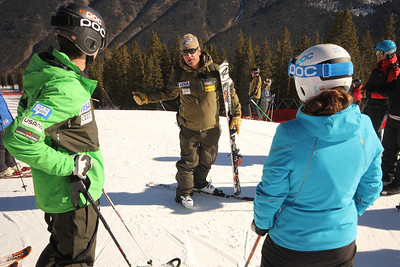 Coach Jeff Pickering and Colby Granstrom along with Copper skiers help open the U.S. Ski Team Speed Center at Copper Mountain (Tripp Fay/Copper Mountain)