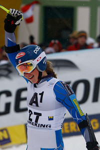 SEMMERING, AUSTRIA - DECEMBER 28: Mikaela Shiffrin of the USA reacts in the finish area after competing in the Audi FIS Alpine Ski World Cup Giant Slalom Race in Semmering, Austria, on 28 December 2012 (Photo by Mitchell Gunn/ESPA) Image may be used for editorial purposes only.