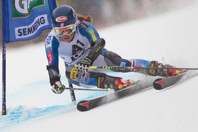 SEMMERING, AUSTRIA - DECEMBER 28: Mikaela Shiffrin of the USA races down the course whilst competing in the Audi FIS Alpine Ski World Cup Giant Slalom Race in Semmering, Austria. on 28 December 2012 (Photo by Mitchell Gunn/ESPA) Image may be used for editorial purposes only.