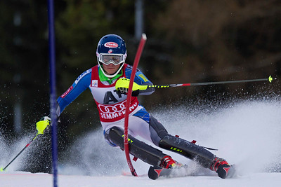 SEMMERING, AUSTRIA - DECEMBER 29: Mikaela Shiffrin of the USA races down the course whilst competing in the Audi FIS Alpine Ski World Cup Slalom Race in Semmering, Austria, on 29 December 2012 (Photo by Mitchell Gunn/ESPA) Image may be used for editorial purposes only.