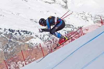 VAL GARDENA, ITALY - DECEMBER 13: Marco Sullivan of USA in action on the Saslong course whilst taking part in the second official training session for the Audi FIS Alpine Ski World Cup Downhill race on December 13 2012 in Val Gardena, Italy. (Photo by Mitchell Gunn/ESPA) Image may be used for editorial purposes only.