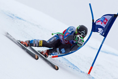 VAL GARDENA, ITALY - DECEMBER 14: Andrew Weibrecht of USA races down the Saslong course whilst competing in the Audi FIS Alpine Ski World Cup Super Giant  Slalom race on December 14 2012 in Val Gardena, Italy. (Photo by Mitchell Gunn/ESPA) Image may be used for editorial use only.