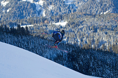 VAL GARDENA, ITALY - DECEMBER 12: Marco Sullivan of USA  takes to the air on the Saslong course whilst taking part in the first official training session for the Audi FIS Alpine Ski World Cup Downhill race on December 12 2012 in Val Gardena, Italy. (Photo by Mitchell Gunn/ESPA) Image may be used for editorial purposes only.