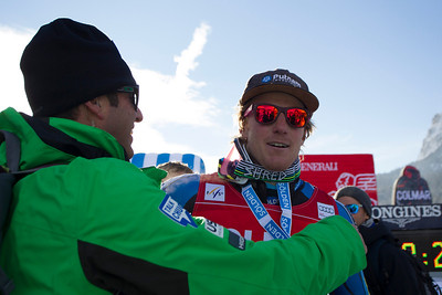 ALTA BADIA, ITALY - DECEMBER 16: Ted Ligety of USA and coach Mike Day celebrate Ligety's Victory in the Audi FIS Alpine Ski World Cup Giant Slalom race on December 16 2012 in Alta Badia, Italy. (Photo by Mitchell Gunn/ESPA) Image may be used for editorial use only.