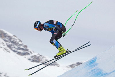 VAL GARDENA, ITALY - DECEMBER 13: Steven Nyman of USA in action on the Saslong course whilst taking part in the second official training session for the Audi FIS Alpine Ski World Cup Downhill race on December 13 2012 in Val Gardena, Italy. (Photo by Mitchell Gunn/ESPA) Image may be used for editorial purposes only.