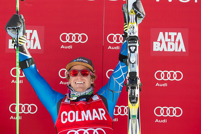 ALTA BADIA, ITALY - DECEMBER 16: Ted Ligety of USA on the podium after winning the Audi FIS Alpine Ski World Cup Giant Slalom race on December 16 2012 in Alta Badia, Italy. (Photo by Mitchell Gunn/ESPA) Image may be used for editorial use only.