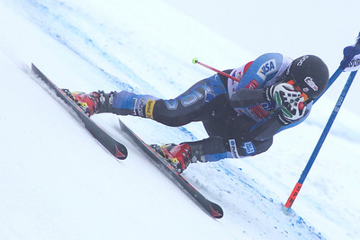 VAL GARDENA, ITALY - DECEMBER 14: Marco Sullivan of USA races down the Saslong course whilst competing in the Audi FIS Alpine Ski World Cup Super Giant  Slalom race on December 14 2012 in Val Gardena, Italy. (Photo by Mitchell Gunn/ESPA) Image may be used for editorial use only.