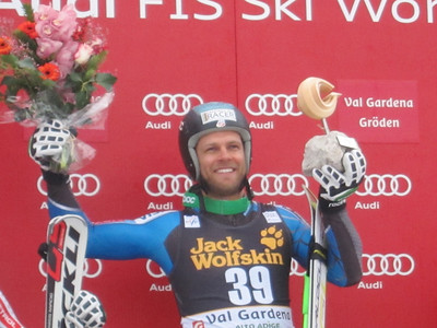 Steven Nyman of USA on the podium after winning Saslong  the Audi FIS Alpine Ski World Cup Downhill race on December 15 2012 in Val Gardena, Italy.  (Doug Haney/U.S. Ski Team)