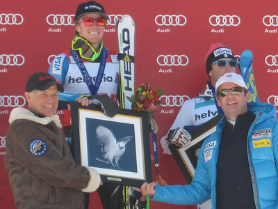 Ted Ligety with sponsors from Putnam Dan MacDermid and Mark McKenna Audi Birds of Prey Giant Slalom in Beaver Creek, CO Dec. 2, 2012 (photo: Doug Haney/USSA)