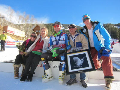 Ted Ligety with family Bill Ligety, Cindi Sharp, brother Charlie and girlfriend Mia Audi Birds of Prey Giant Slalom in Beaver Creek, CO Dec. 2, 2012 (photo: Doug Haney/USSA)