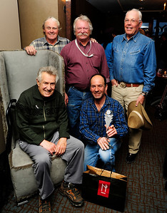 The USSA and FIS recognized photojournalist Jonathan Selkowitz with the FIS Journalist Award during the Audi FIS World Cup at Beaver Creek. Pictured are past recipients Bob Beattie, Jonathan Selkowitz (both in front) along with Joe Jay Jalbert, Hank McKee and Gary Black of Ski Racing.