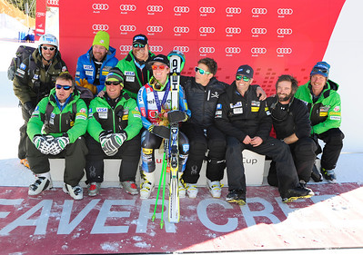 The U.S. Ski Team celebrates Ted Ligety's win in the Audi Birds of Prey giant slalom at Beaver Creek. (U.S. Ski Team/Tom Kelly)