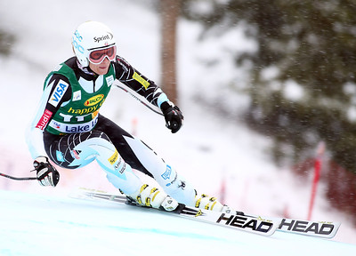 Julia Mancuso skis to her first podium of the season finishing second in the Audi FIS World Cup super G in Lake Louise. Photo © Roger Witney/Alpine Canada Image may be used for editorial use only.
