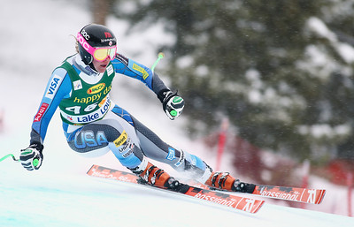Stacey Cook charges down the Lake Louise Audi FIS World Cup super G course. Photo © Roger Witney/Alpine Canada Image may be used for editorial use only.