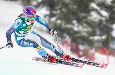 Alice McKennis competes in the Audi FIS World Cup super G in Lake Louise. Photo © Roger Witney/Alpine Canada Image may be used for editorial use only.