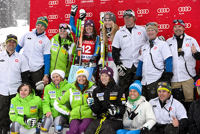 American Team Podium\Julia Mancuso Audi FIS Alpine World Cup - Lake Louise, Canada - Nov. 30-Dec. 2 Photo © Roger Witney Image may be used for editorial use only.